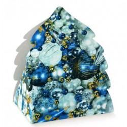 SCATOLA PORTA PANETTONE + BOTTIGLIA BLUE CHRISTMAS ALBERO 345X300X330 50PZ X CT