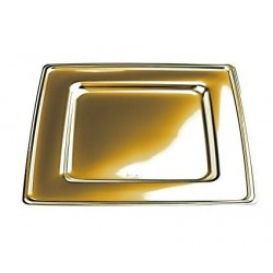 PIATTO PIANO GRANDE DAMPE GOLD 30X30 ORO PET 4PZ X 12CF X CT